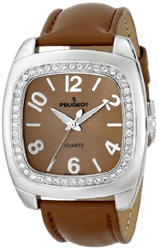 Peugeot Women's 310TN Silver-Tone Swarovski Crystal Accented Tan Leather Strap Watch