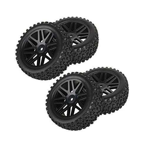 PIXNOR 4pcs Replacement Rubber Wheel Rims Tires for RC 110 Scale Off-road Car Truck (Black)