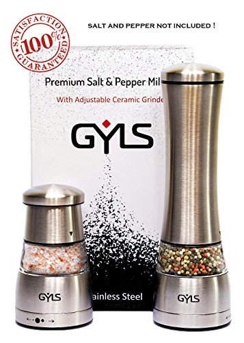 Salt and Pepper Grinder Set, GYLS Manual Grinder Set of 2 For Salt and Pepper, Stainless Steel Body, Strong Adjustable Ceramic Grinder, Acrylic Glass, Durable, Refill Grinders with Most Spices (Spice Grinder Glass compare prices)