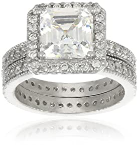 Sterling Silver Square Cubic Zirconia with Pave Border and Band Wedding Ring Set, Size 6