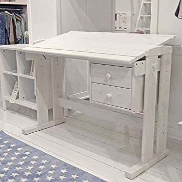 LUCKY Children's Desk with 2 Drawers Wood, Adjustable Height White
