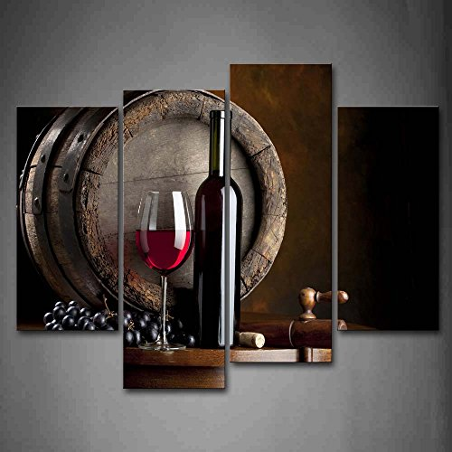 Wine And Fruit With Glass And Barrel Wall Art Painting For Kitchen Pictures Print On Canvas Food The Picture For Home Modern Decoration (Wine Barrel Wall Decor compare prices)