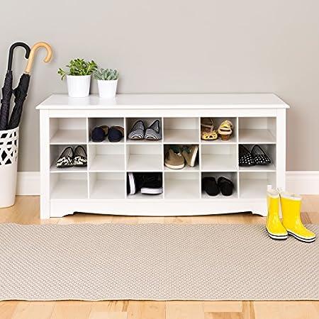 White Shoe Storage Cubbie Bench