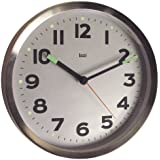 Bai Brushed Stainless Steel Wall Clock, Silver
