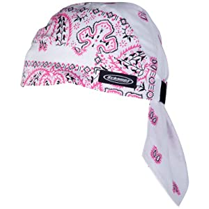 Schampa Pink/Black Paisley Old School Rat Tail Skullcap (White Ground, One Size)