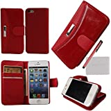 xhorizon® Flip wallet Luxury Premium Leather Magnetic Stand Case Cover For iPhone 5 5S w/ free stylus + cleaning cloth + screen film