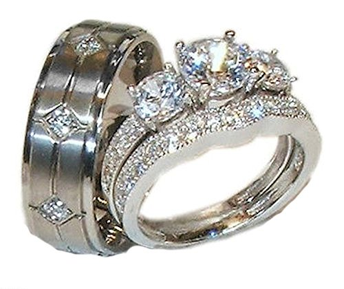 His Hers 3 Piece 925 Sterling Silver & Titanium Wedding Ring Set (womens 8 mens 11)
