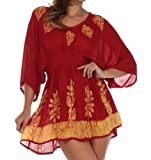 Sakkas 982 Embroidered Batik Gauzy Cotton Tunic Blouse - Red / Gold - One Size