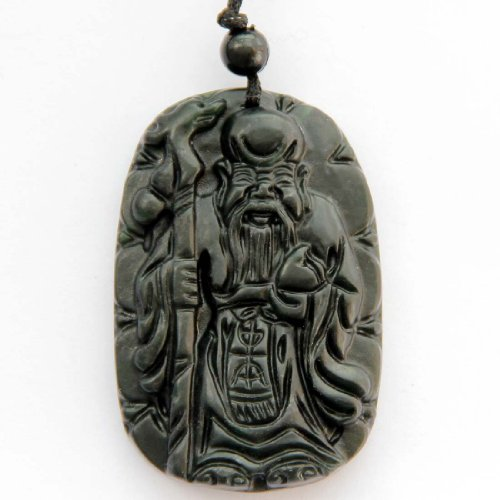 Dark Color Jasper Stone Carved Longevity Man Long Life Amulet Pendant