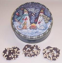 Scott\'s Cakes 1 lb. Dark Chocolate Covered Pretzel with Chocolate Chips & White Chocolate Chips in a Warm Wishes Tin