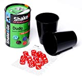 LA 36876 VACA PÊRPURA - Shake and Go Dudo, multilingüe, de 2 jugadores, de contenido - 10 cubos, 2 tazas incluyó Instrucciones