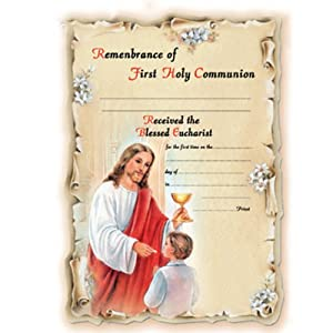 """100 First Communion Boy Certificates: 7"""" x 10.5"""", Die-Cut, Four Color Part Processing, Gold-Leaf, Made in Italy!"""