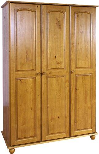 Pine Wardrobe 3 Doors and Bun Turned Feet - Hampshire Solid Pine Bedroom Furniture Range