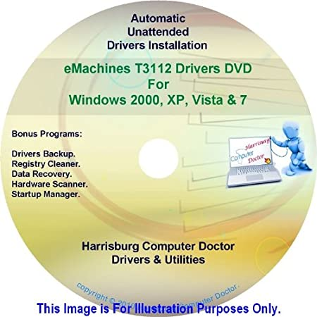 eMachines T3112 Drivers DVD Disc eMachine T3112 - Windows, XP, Vista and 7 Driver Kits - Automatic Drivers Installation.