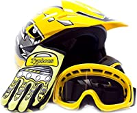 Youth Offroad Gear Combo Helmet Gloves Goggles DOT Motocross ATV Dirt Bike MX Motorcycle Yellow, Medium from Typhoon Helmets