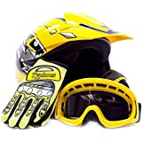 Youth Offroad Gear Combo Helmet Gloves Goggles DOT Motocross ATV Dirt Bike MX Motorcycle Yellow, X-Large