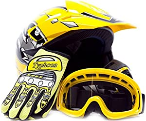 Youth Offroad Gear Combo Helmet Gloves Goggles DOT Motocross ATV Dirt Bike MX Motorcycle Yellow, Small