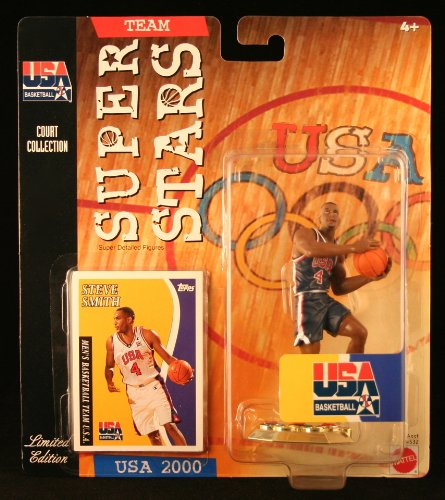 STEVE SMITH * 2000 OLYMPICS MEN'S BASKETBALL TEAM U.S.A. * NBA Team Super Stars Limited Edition Figure, USA Display Base & Exclusive Topps Collector Trading Card