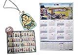 【相撲グッズ】逸ノ城 ざんばら髪豆力士ストラップ(青) 27年大相撲カレンダー1枚 絵番付(最新版) Sumo Goods