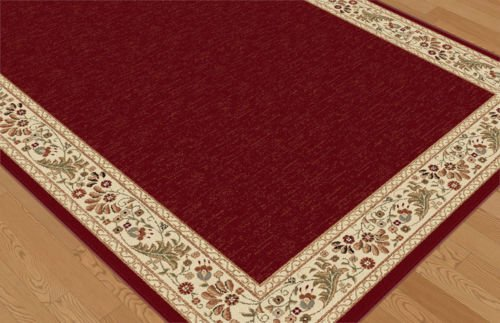 Durable RED Persian Oriental Traditional Area Rug Ivory Green Floral Bordered Carpet for Bathroom