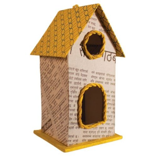 Fair-Trade Upcycled Paperboard Birdhouse/Ornament - YELLOW (5''H x 2.5''W)