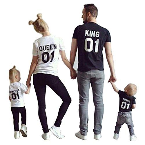 Gli Amanti KING QUEEN 01 Di Estate Della Stampa Manica Corta Personalizzate Casuale T-Shirt Blouse Top un Regalo (S, Nero)