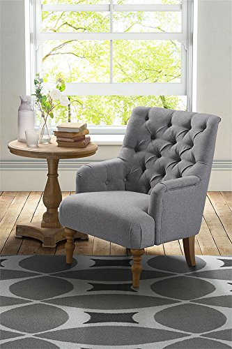 MY-Furniture -Fauteuil LATERNA, capitonnage à boutons – gris clair