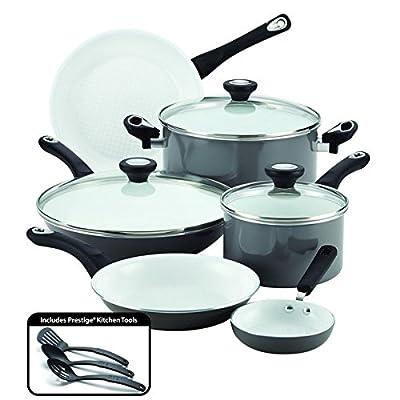 Ultimate PURECOOK(tm) Grey Ceramic Nonstick Cookware 12-Piece Cookware Set