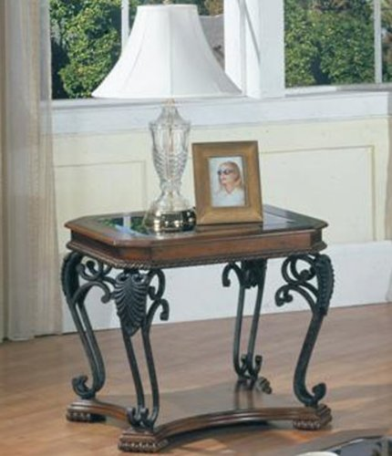 Cheap Genoa Wrought Iron End Table (Espresso) (24″H x 24″W x 27″D) (TAB#25-01)