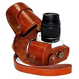 First2savvv XJPT-K30-09 brown full body Precise Fit PU leather digital camera case bag cover with shoulder strap for Pentax K5II K5IIS K30 K50 with 18-55mm/18-135mm Lens
