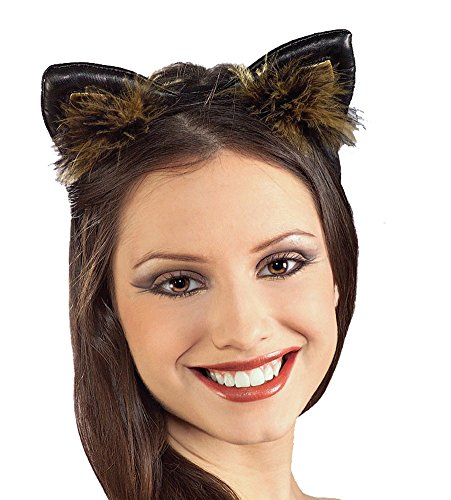 Cat Ears Faux Leather Feathered Costume Headband