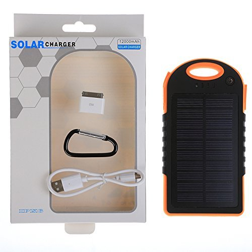 JJF Bird TM Solar Panel Charger 12000mah Rain-resistant Waterproof Shockproof Portable Dual USB Port Portable Charger Backup External Battery Power Pack for Iphone 6 4 4s 5 5sipod, Ipad Ipad Mini Retina(apple Adapters Not Included), Samsung Galaxy Note 2, Note 3, S2 S3, S4, S5, Blackberry Z30, Z10, Q10, Q5, Asus Nexus 4, 5, 7, 10, HTC One V, X, M8, M7, Mini, Max, Motorola Moto G, X, E, Droid, Lg G2, G3, Sony Xperia, Nokia Lumia, Icon, 521, 520, 920, 1020, 1520 Most Android/windows Smart Cell Phones, Gps, Tablets, and Other Usb-charged Devices, Etc. (black-orange)