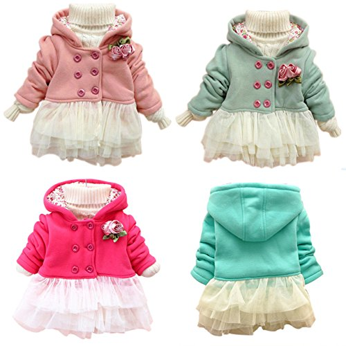 Kubeer Baby 0-4T Winter Warm Coats Kid Girl Fashion Dresses Coat Outerwear Cloth