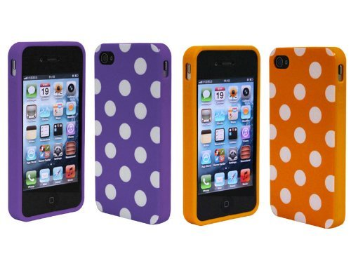 Importer520 2in1 Combo Purple Orange Polka Dot Flex Gel Case for Iphone 4 & 4S Picture