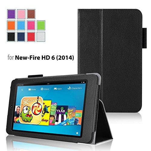 【豪華2点セット! 高品質タッチペン!】全6色【VSTN】Kindle Fire HD 6 インチ 専用保護ケース  超薄型  超軽量 高級PU レザーカバー (Kindle Fire HD 6 インチ, ブラック)