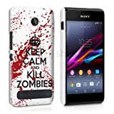 Sony Xperia E1 Case - White and Red Hard Plastic (PC) Cover with Funny Keep Calm Kill Zombies Design
