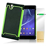 32nd® Shock proof heavy duty protective dual rubber case cover for Sony Xperia T2 Ultra + screen protector, cleaning cloth and touch stylus - Green