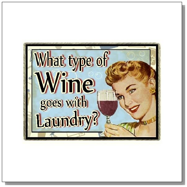 Wine Gifts Funny Retro Refrigerator Magnet What Wine Goes with Laundry