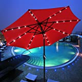 9' Outdoor Patio Aluminium Umbrella 32 Solar Powered LED Crank Tilt UV30+ 180g Cover Top Beach Deck (Red)