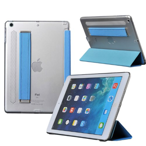 Moon Monkey Ipad Air (Ipad 5) Case In Pu Leather - Flip Cover And Stand With Automatic Wake / Sleep, Elastic Hand Strap & Soft Premium Nubuck Fibre Interior To Protect Apple Ipad Air (Ipad 5) (Blue)