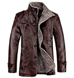 Demetory Mens Trendy Fur-Padded Washed Leather Jacket Coat Outwear