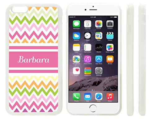 """Rikki Knighttm """"Barbara"""" Pink Chevron Name Design Iphone 6 Plus Case Cover (Clear Rubber With Raised Front Bumper Protection) For Apple Iphone 6 Plus front-616130"""