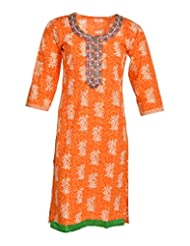 Global Women's Cotton Straight Kurta (GW38Orange40015, Orange, 40)