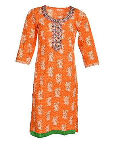 Global Women's Cotton Straight Kurta (GW38Orange40015, Orange, 40)