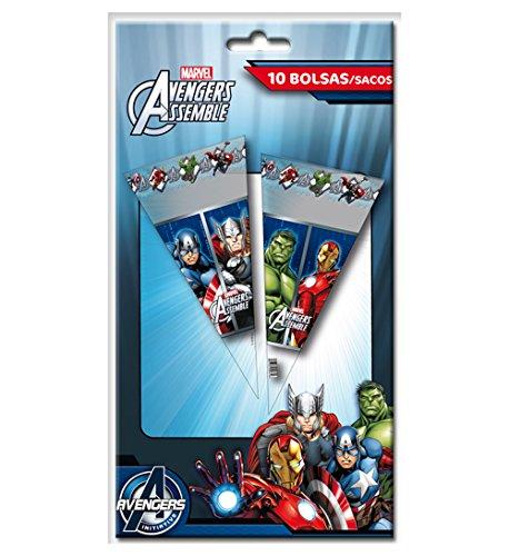 Los Vengadores - 10 bolsas cono 20x40 cm (Verbetena 014300055)