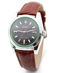20mm Classic Brown Crocodile Grain Leather Watch Strap For Rolex Milgauss