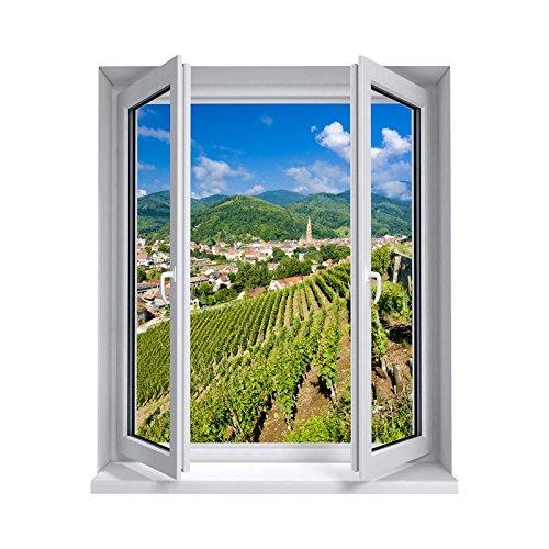 Stickers trompe l'oeil fenêtre L' Alsace - L 100cm x H 120cm
