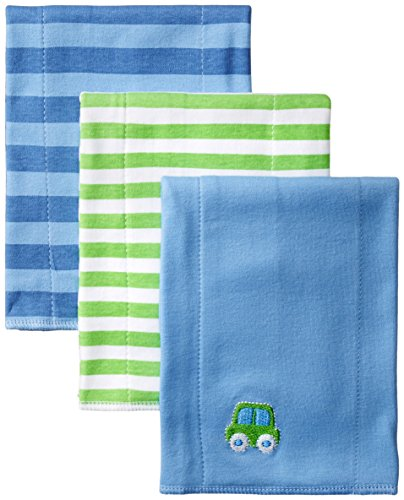 Gerber Baby-Boys Newborn 3 Pack Interlock Burp cloths, Blue, One Size