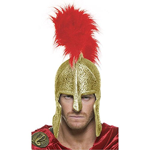 Spartan Legions Gold Helmet with Red Feather Crest - One Size