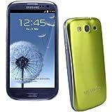 xubix Full Metal Akkudeckel für Samsung i9300 Galaxy S3 Grün Green brushed Metall Aluminium mit dezent weißem Rand